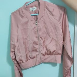 Polyester Pink Cropped Jacket